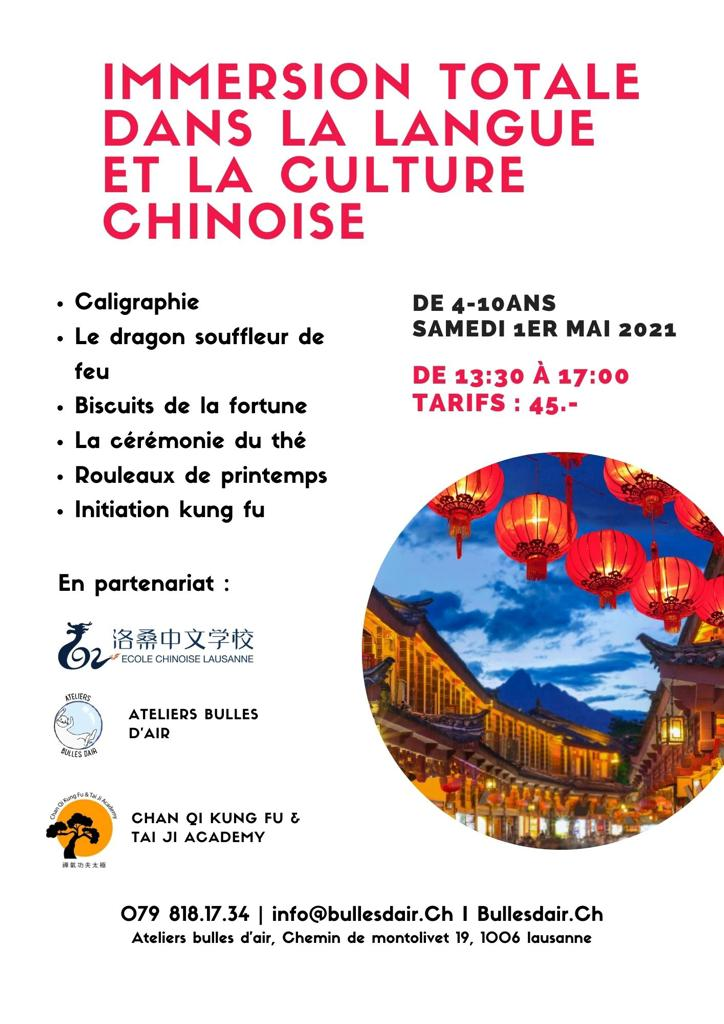Affiche immersion totale dans la langue et la culture chinoise